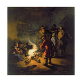 Peasants around a Bonfire Giclee Print by Adam Colonia