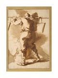 Back View of a Water Carrier, Another Figure Beyond Him Giclée-tryk af Salvator Rosa