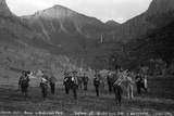 Telluride Band in Bridal Veil Park Ingram and Bridal Veil Falls, 1886 Photographic Print by Charles Goodman