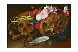 Vanitas Still Life with Skulls, Flowers, a Pearl Mussel Shell, a Bubble and Straw Giclee Print by Nicolaes van Veerendael