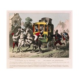 A Honeymooning Couple are Attacked by Highwaymen in Italy, Pictorial Broadsheet Published by… Giclee Print by German School