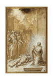 Female Saint Praying by the Body of a Dead Man Giclee Print by Camillo Procaccini