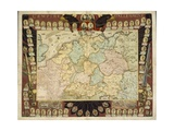 Map of the German Empire with Portraits of the Holy Roman Emperors, Published by Louis-Charles… Impressão giclée por Nicolas De Fer