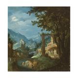 Landschaft mit Brücke Giclée-Druck von Gillis van Valckenborch