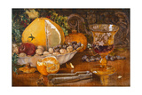 Still Life of Fruit, Nuts and Wine Glass, 1864 Giclee Print by John Edward Newton