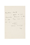 Letter to George C. Haite Giclee Print by Oscar Fingal O'Flahertie Wills Wilde