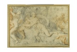 Pan and a Companion Surprise Three Nymphs Bathing Giclee Print by  Pietro da Pietri