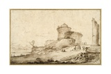 Landscape with a Broken Column, a Castle and Numerous Figures in the Foreground at the Right Giclee Print by  Guercino (Giovanni Francesco Barbieri)