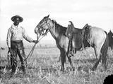 Black Cowboy and Horse, C.1890-1920 Photographic Print