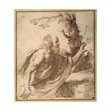 A Saint Reading in the Desert Giclee Print by  Guercino (Giovanni Francesco Barbieri)