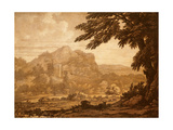 Landscape with a Temple Giclee Print by Alexander Cozens