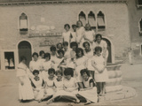 Lacemakers Outside the School Photographic Print