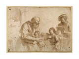 Two Boys Comforted by a Bearded Elder, While Another Bearded, Middle-Aged Man Reads a Book Giclee Print by  Guercino (Giovanni Francesco Barbieri)