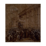 Urban VIII Carried Down the Nave of St. Peter's Giclee Print by Pietro Da Cortona