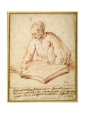 Padre Sebastiano Resta Examining a Folio of Drawings Giclee Print by Carlo Maratti