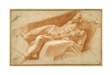 Recumbent Youth Posed Nude, Except for His Hose Pulled Down to His Ankles Giclée-tryk af Annibale Carracci