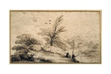 Landscape with Two Fishermen Resting Giclee Print by  Guercino (Giovanni Francesco Barbieri)