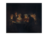 A Biedermeier 'Tischgesellschaft' (Table Society) Playing a Parlour Game by Candlelight, 1829 Giclee Print by Petrus van Schendel