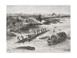 French and British Explorers Hunting Hippopotamus on the Congo River in the 19th Century, from… Giclee Print