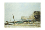 The Beach at Low-Tide in Mist Giclee Print by Eugene Louis Boudin