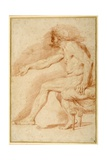 Bearded Nude Seated on a Couch All'Antica Giclee Print by Andrea Sacchi