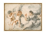 Venus Scolding Cupid, While an Older Cupid Binds Him to a Tree Giclee Print by  Guercino (Giovanni Francesco Barbieri)