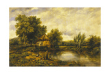A River Landscape with an Angler by a Mill Giclee Print by Frederick Waters Watts