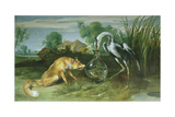 The Fox and the Crane from Aesop's Fables Giclee Print by Frans Snyders