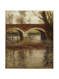 A River Landscape with a Bridge Giclee Print by Fritz Thaulow