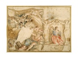 Allegorical Decoration for One Corner of a Coved Ceiling Giclee Print by Giovanni Francesco Romanelli