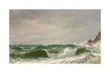 Waves Crashing on a Rocky Coast, 1885 Giclee Print by David James