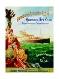 Poster Advertising the Hamburg American Line, 1897 Giclee Print by German School