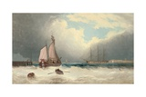 A Barge Running Out of Harbour, a Frigate Riding on Her Anchor Beyond Giclee Print by David James