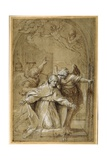 St Gregory Attended by Angels Praying for Souls in Purgatory Giclee Print by Annibale Carracci