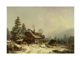 The Old Mill in Winter Giclee Print by Heinrich Burkel