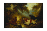 Spaniels Putting Up a Pheasant Giclee Print by George Armfield