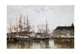 Three-Masters in Dock, Antwerp, 1871 Giclee Print by Eugène Boudin