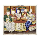 King Thibaw with Dignitaries and a British Officer Giclee Print by  Hsaya Chone and Hsaya Saw