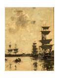 Deauville: Schooners at Anchor, 1887 Stampa giclée di Eugène Boudin