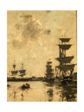 Deauville: Schooners at Anchor, 1887 Giclee Print by Eugene Louis Boudin