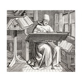 A Monk Scribe Surrounded by Manuscripts and Books at His Desk, after a 15th Century Work, from… Giclee Print