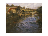 River Landscape with a Washerwoman Giclee Print by Fritz Thaulow
