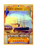 Poster Advertising the North German Lloyd Line, 1883 Giclee Print by German School