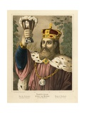 Portrait of Gambrinus, Legendary King of Flanders, Pictorial Broadsheet Published by F.C.… Giclee Print by German School