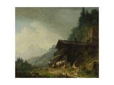 A Forge in the Bavarian Alps Giclee Print by Heinrich Burkel