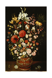 Tulips, Lilies, Irises, Roses, Carnations, Peonies and Other Flowers in a Sculpted Terracotta Urn Giclee Print by Osias The Elder Beert