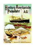 Poster Advertising the Hamburg American Line, 1893 Giclee Print by German School