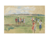 Pioneers in the Field, 1950s Giclee Print by Natalia Aleksandrovna Gippius