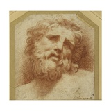 A Bearded Head, Looking Up (Possibly Laocoon) Gicleetryck av Parmigianino,