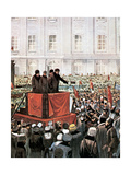 Russian Revolution (1917). Rally by Lenin and Leon Trotsky in St. Petersburg Giclee Print
